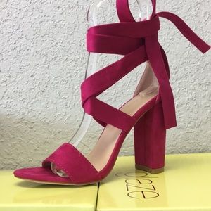 Fuchsia suede wrap heel
